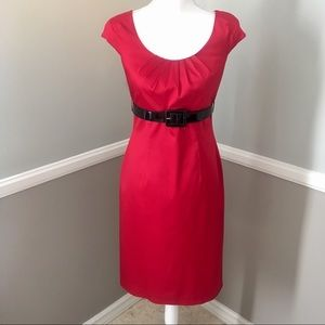 $179 Adrianna Papell Red belted  Dress Size 4